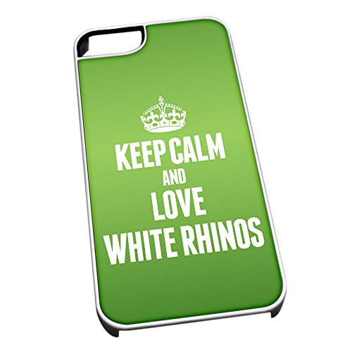 Cover per iPhone 5/5S Bianco 2502 Verde Keep Calm And Love Bianco rinoceronti