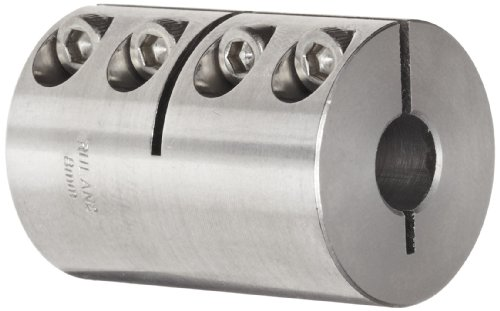 Ruland MCLX-16-16-SS One-Piece Clamping Rigid Coupling, Stainless Steel, Metric, 16mm Bore A Diameter, 16mm Bore B Diameter, 34mm OD, 50mm Length by Ruland