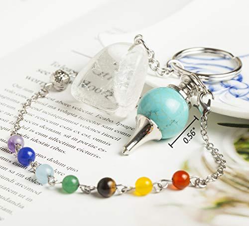 AMOYSTONE Nature Crystal Pendulum Green Turquoise Dowsing Stone Pendulum with Clear Quartz Key Chain