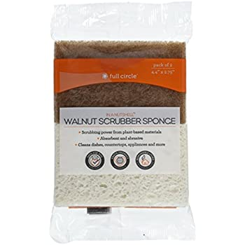 Full Circle In a Nutshell Walnut Scrubber Sponges, Non-Scratch, Set of 2