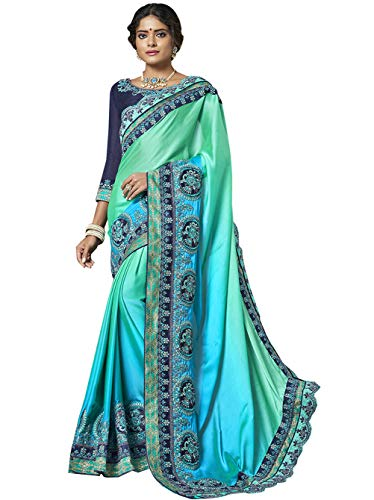 (Shonaya Women's Georgette Embroidered Wedding Saree With Blouse (7282_Sea Green_Free Size))