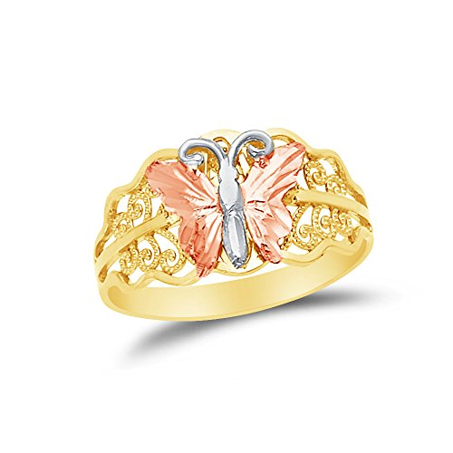 Sonia Jewels Size - 7.5-14k Rose Yellow & White Gold Fancy Fashion Butterfly Filigree Ring ()
