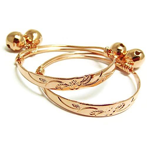 Flower 22k 23k 24k Thai Baht Pink Gold Plated Anklet Baby Set Bell Unisex Baby, Adjustable ()