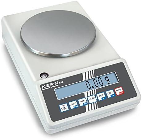 Präzisionswaage [Kern 573-34NM] Allrounder z. B. als Laborwaage, Zählwaage, Kontrollwaage, mit Eichzulassung [M], Wägebereich [Max]: 650 g, Ablesbarkeit [d]: 0,01 g, Reproduzierbarkeit: 0,01 g, Linearität: 0,02 g, Wägeplatte: Ø 150 mm (Edelstahl)