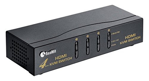 Sea Wit 4 Port HDMI Switch,KVM Switch with Cable Kit and Supports HDCP 1080p 3D and Auto Scan,for Windows /XP/Vista Linux and Mac-Black by Sea Wit