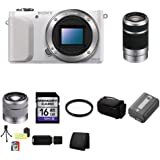 Sony Alpha NEX-3N/W y (White) + Sony E 55-210mm F4.5-6.3 Lens for Sony NEX Cameras SEL55210 + Sony E-Mount SEL1855 18-55mm f/3.5-5.6 Zoom Lens for Alpha NEX Cameras (Silver) + Bundle