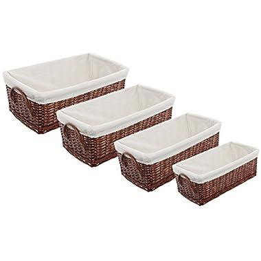Fabric Lined Woven Brown Storage Basket Bins / Space Saving Nesting Organizer Boxes - Set of 4