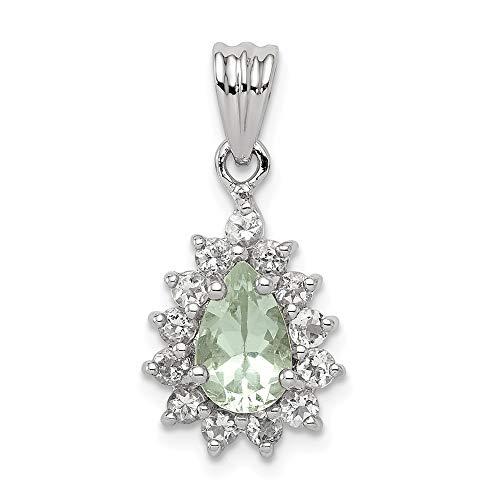 FB Jewels Solid 925 Sterling Silver Rhodium Green Quartz Pendant
