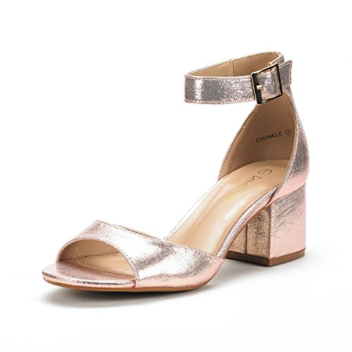 DREAM PAIRS Women's Chunkle Champagne Pearl Low Heel Pump Sandals Ankle Strap Dress Shoes - 8.5 M US