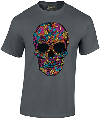 Awkward Styles Men's Black Flower Sugar Skull T-Shirt Day of The Dead Shirt XL Charcoal ()