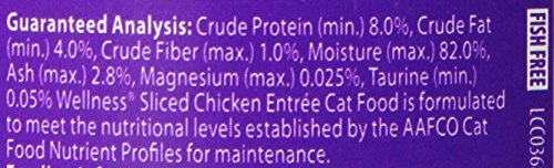 Wellness Natural Canned Grain Free Wet Cat Food, Sliced Chicken, 5.5-Ounce Can (Pack of 24)