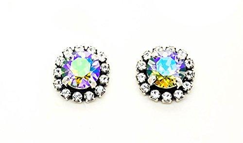 BLACK DIAMOND GLACIER 8mm Crystal Halo Stud or Drop Earrings Swarovski Elements *Antique Silver *Karnas Design Studio (Antique Diamond Stud Earrings)