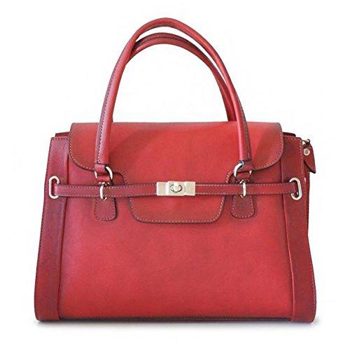 Pratesi Baratti envejecido bolso bolsa de sorpresas de asas de cuero italiano (marron oscuro) rojo