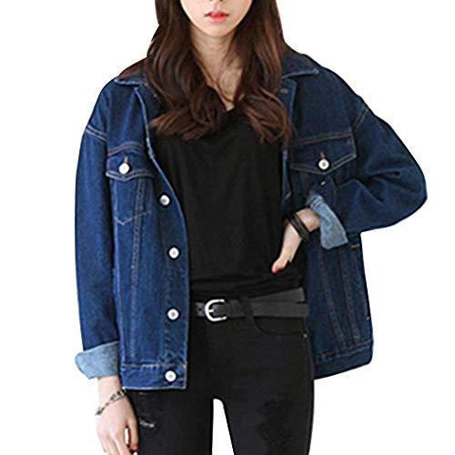 Mujer Vaqueras Jacket Fashion Vintage Casual Elegante Hipster Hipster Joven Outerwear Cazadoras Otoño Primavera Colores Sólidos Manga Larga Vaqueros Con Bolsillos Botones De Cierre Chaqueta Abrigo Dunkelblau
