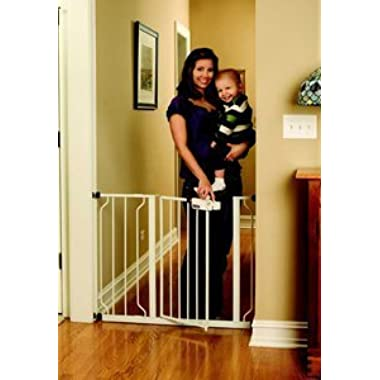 Regalo Easy Step Walk Thru Gate, White, Fits spaces between 29  and 39  Wide