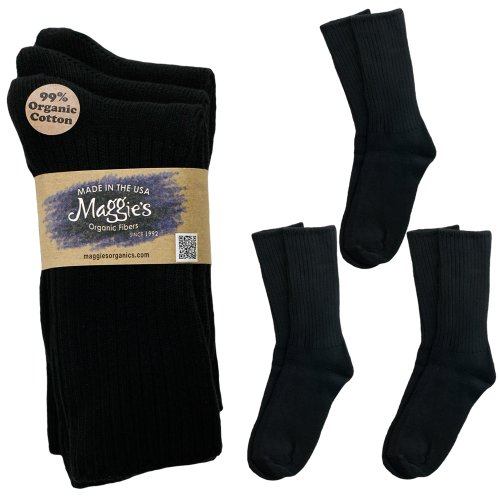 Maggie's Organics Cotton Crew Sock Tri-pack,Black,9-11