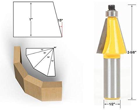 1/4 Schaft 15 Grad Sperre Mitre Fräserbit 3/4 Zoll Auf Joint Fräser Holzbearbeitungswerkzeuges (Size : 1/2)