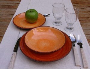 Brushed Orange Terracotta Dinner Service Set (1 Set) & Brushed Orange Terracotta Dinner Service Set (1 Set): Amazon.co.uk ...
