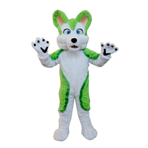 CosplayDiy Unisex Green Dog Lovely Husky Animal Mascot Costume Adult S -