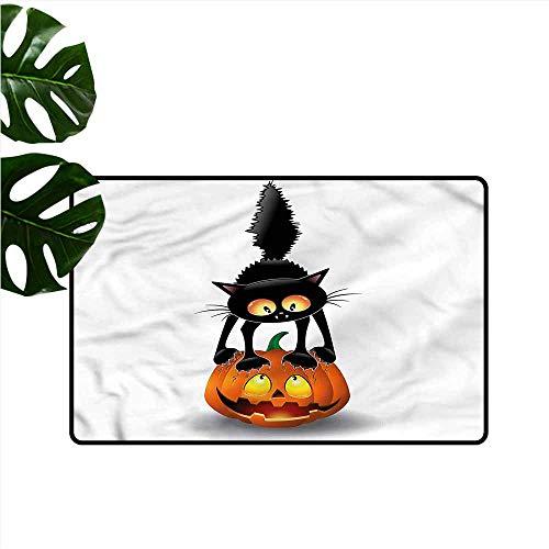 DUCKIL Pet Door mat Halloween Cartoon Animal on Pumpkin Anti-Fading W35 -