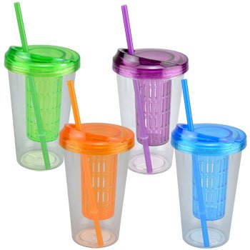 5080d4ceb3e Amazon.com | Single Wall Fruit Infuser Tumbler With Lids and Straws ...