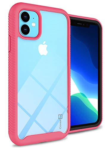 CoverON Shockproof Heavy Duty Full Body EOS Series for iPhone 11 Case, Clear Back Matte Pink Trim