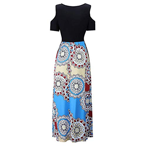Fashion Manica spalline Floral Bohemian Allentato Beach New Overdose H corta Skirt Casual Print 2019 Dress Long Senza blue Women HxqX86