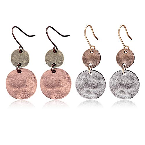 (D.Rosse 2 pairs Boho Drop Coin Earring Round Dangle Hoops Handmade Retro Geometry Earring Copper Wire Women Jewelry (Round Gold+Round Silver) )