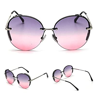 LABAICAI Gafas de Sol Redondas de Diamantes de imitación de Gran tamaño Mujeres Gafas de Marca Brillantes de Diamantes Gafas de Sol de Mujer de Moda de diseñador Sombras (Lenses Color : Tea): Deportes y aire libre
