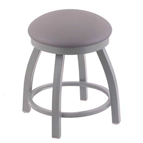 Holland Bar Stool Co. 802 Misha Vanity Stool with Anodized Nickel Finish and Swivel Seat, 18'', Allante Medium Grey by Holland Bar Stool Co.