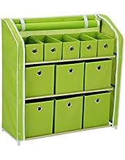 "Homebi Multi-Bin Storage Shelf 11 Drawers Storage Chest Cube Storage Bins Linen Organizer Closet Cabinet with Zipper-Covered Fabric Bin and Sturdy Metal Shelf Frame,31"" W x12 Dx32 H"