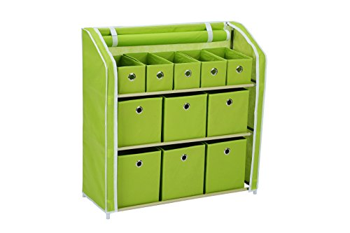 Homebi Multi-Bin Storage Shelf 11 Drawers Storage Chest Linen Organizer Closet Cabinet with Zipper Covered Foldable Fabric Bins and Sturdy Metal Shelf Frame in Green,31
