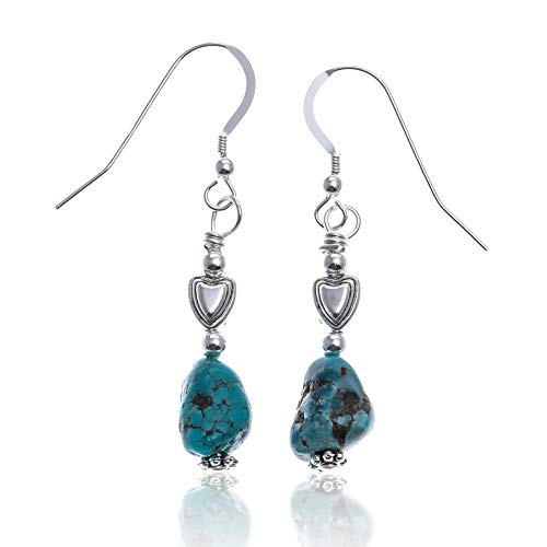 $60 Retail Tag Natural Turquoise Silver Hooks Certified Authentic Navajo Native American Heart Earrings