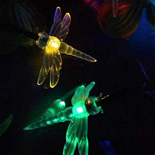 BGFHDSD Novelty Dragonfly Solar LED String Party Holiday Christmas Decoration Lights Mariage Solaire Lumiere Outdoor Waterproof 7M White by BGFHDSD