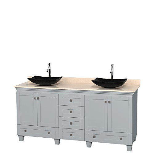 Wyndham Collection Acclaim 72 inch Double Bathroom Vanity in Oyster Gray, Ivory Marble Countertop, Arista Black Granite Sinks, and No Mirrors