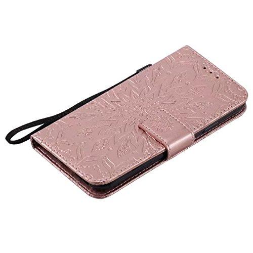 JIALUN-carcasa de telefono Doble lado en relieve patrón de girasol Premium PU cubierta de cuero con ranuras para tarjetas y cordón para el iPhone X ( Color : Red ) Rosegold