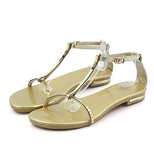 Amoonyfashion Kvinnor Ko Läder Låga-häl Öppnar Tå Fast Spänne Sandaler Guld