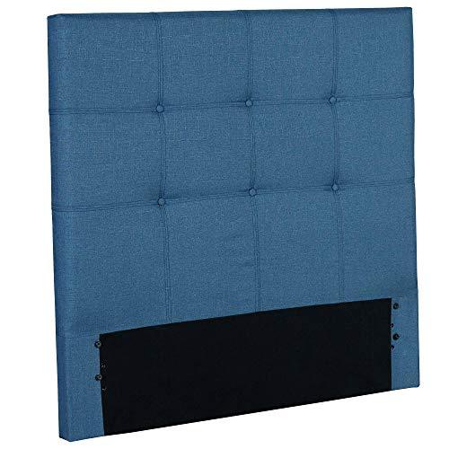 Fashion Bed Group Henley Fashion Kids Button-Tuft Upholstered Headboard, Denim Blue Finish, Full