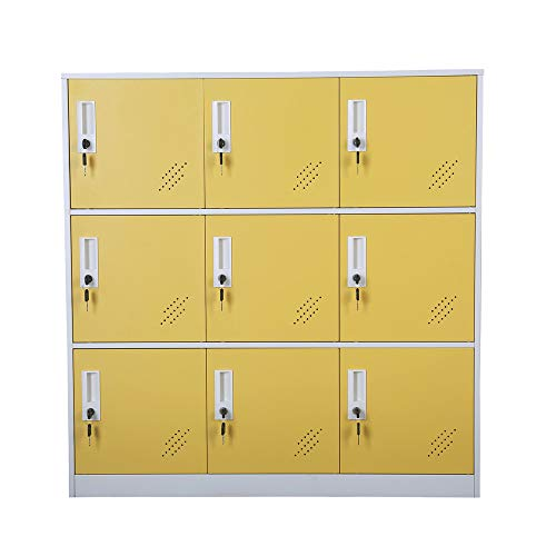 - Shool and Home Locker Organizer Storage for Kids,Playground Metal Shoes and Bag Storage Cabinet (Yellow)