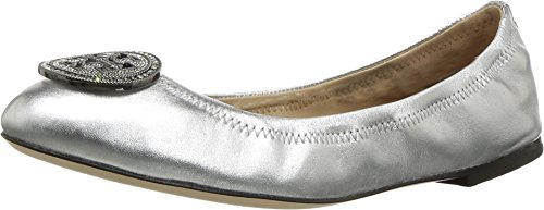 (Tory Burch Liana Ballet Flat, Metallic Nappa Leather (10 M US, Silver))