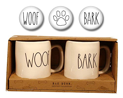 Dish Dog Woof - Rae Dunn Large Letter WOOF and BARK Dog Lover Mugs with Three Coordinating Magnets Gift Set Bundle