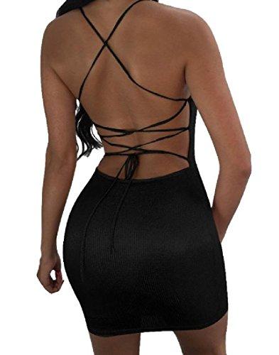 Coolred-femmes Silm Forme Lacée Brillante Boîte De Nuit Sexy Dos Nu Mi Robe Noire