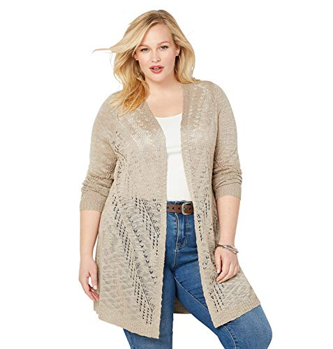 (Avenue Women's Open Stitch Cardigan, 26/28 Tan)