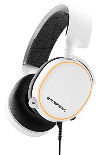 🥇 SteelSeries Arctis 5 – Gaming Headset – RGB Illumination – DTS Headphone:X v2.0 Surround for PC and PlayStation 4 – White [2019 Edition]