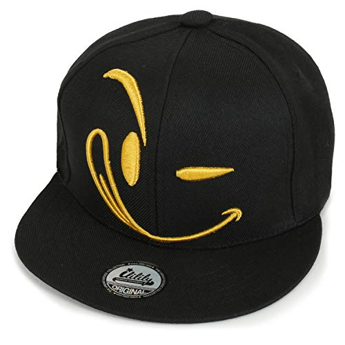 ililily Structured Flat Bill Style Smile Baseball Cap Snapback Trucker Hat, Gold