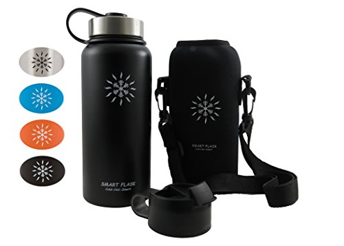 Smart Flask Stainless Steel Water Bottle, 4 Colors, 32 Oz., Wide Mouth, Vacuum Insulated, Includes Carrying Pouch with Clip and Shoulder Strap, Leakproof Metal Lid, and Flip Top Lid, Midnight Black
