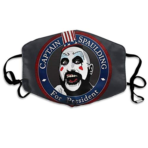Captain Spaulding for President Mouth Mask Unisex Dust Protection Pollution Germs Allergens Windproof Half Face Masks Black