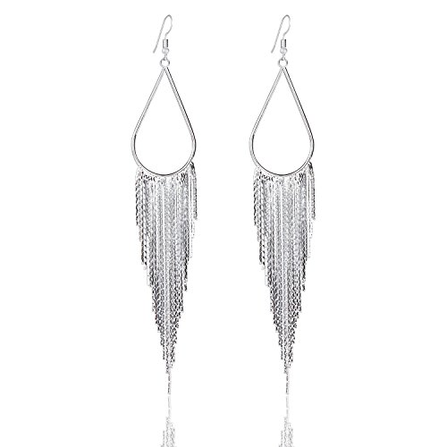 Vijiv 1920s Drop Tassel Earrings 20s Flapper Jewelry Costumes Accessories Silver from Vijiv