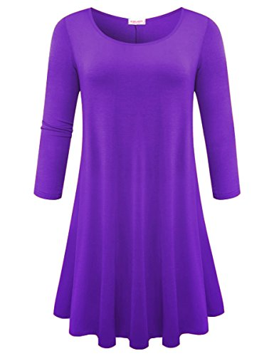Deep Shirt Casual Women's Loose 4 Flare BELAROI Purple Sleeve Plain Simple 3 T Dress 7Fd5z5qxw
