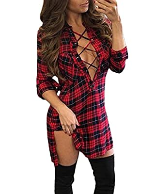 Auxo Women Sexy Lace Up Shirt Long Sleeve Deep V Neck Mini T Shirt Club Dresses